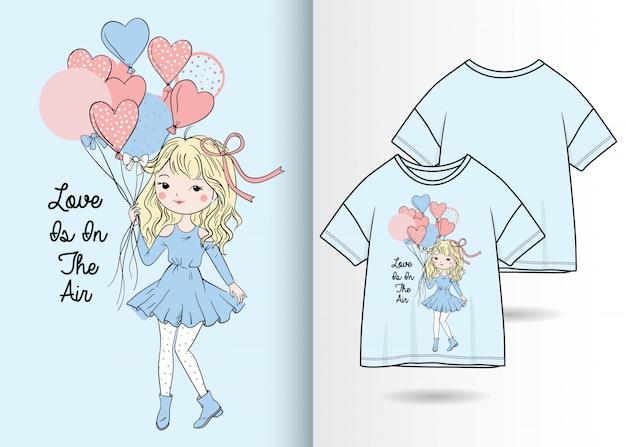 手描きのtシャツデザインのかわいい女の子イラスト