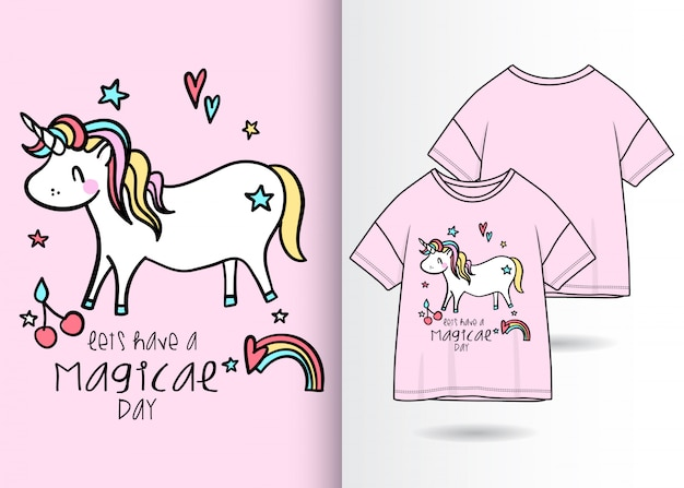 手描きtシャツデザインとかわいいユニコーンイラスト