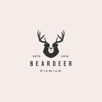 ブランドや商品、tシャツのデザインのためのクマ鹿ロゴヒップスターレトロビンテージ