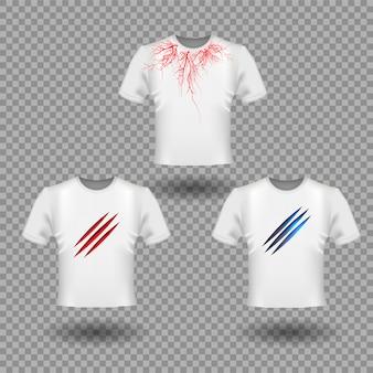 爪の傷や人間の静脈を使ったtシャツデザイン、赤い血管デザイン