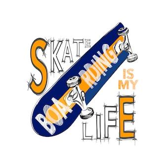 スケートボードのtシャツデザイン。