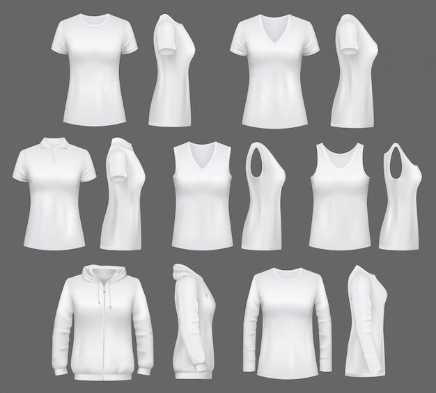 女性の白のタンクトップtシャツ、スポーツウェア