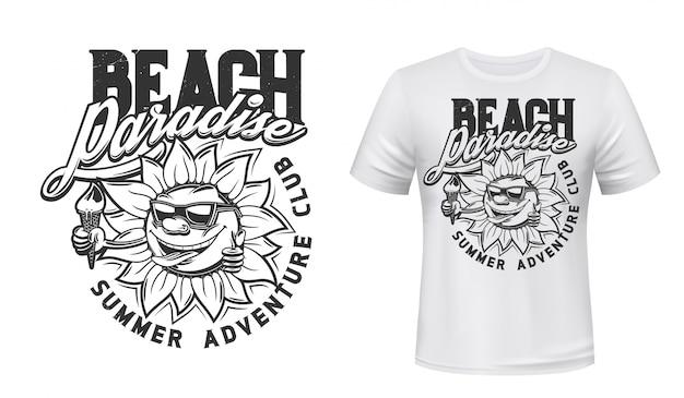夏の太陽とアイスクリームのtシャツプリント