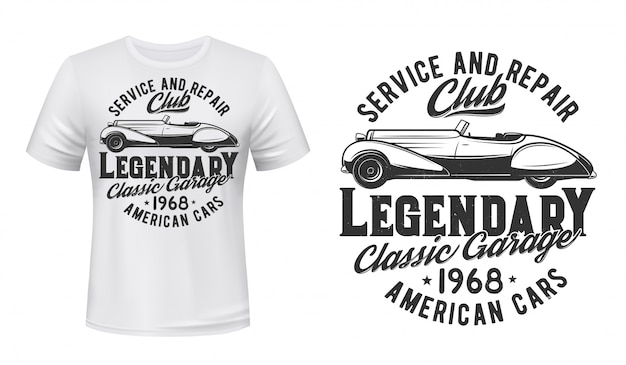 レトロな車の修理サービスtシャツプリント、