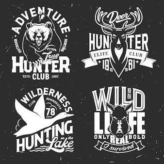 狩猟スポーツクラブの鹿、鴨、熊、猪のtシャツプリント。野生のグリズリー、トナカイ、ムースの狩猟動物や鳥、エルクや豚のグランジバッジ、トロフィー付きのハンターカスタムアパレル