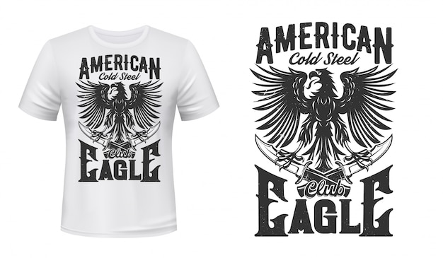 Tシャツデザインのゴシックイーグルと短剣