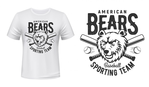 Tシャツプリントアメリカンベアーズベースボールスポーツチーム