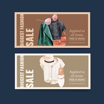 Tシャツ、コート、バッグ、帽子、靴の水彩イラストとファッションクーポンデザイン。