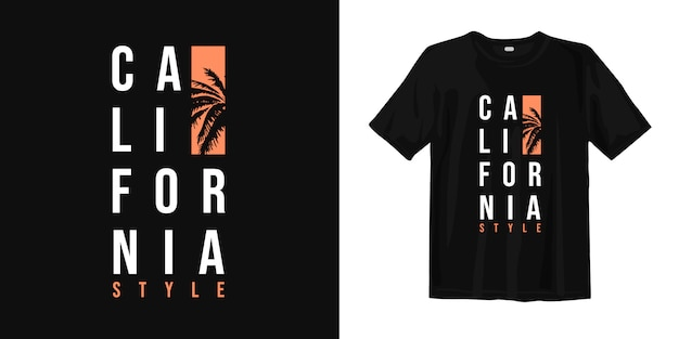 ヤシの木のシルエットを持つカリフォルニアスタイルのtシャツデザイン