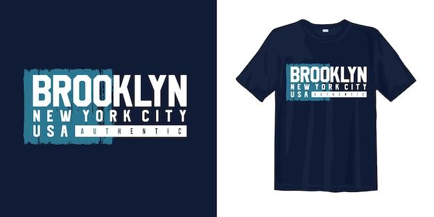 ブルックリンニューヨーク市タイポグラフィグラフィックtシャツ