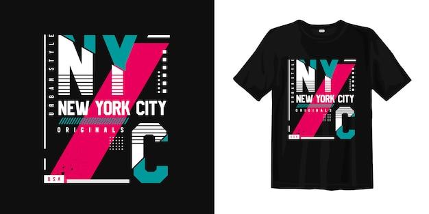ニューヨーク市都市スタイルのタイポグラフィポスターとtシャツ