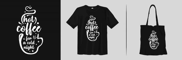 コーヒーについての引用。 tシャツとトートバッグのトレンディなタイポグラフィの引用