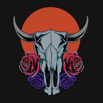 ヤギの頭蓋骨とバラのtシャツデザイン