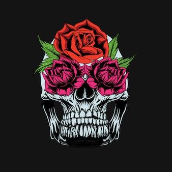 頭蓋骨とバラのtシャツデザイン