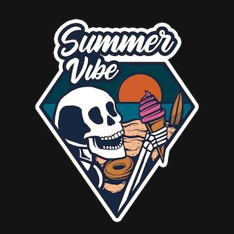 浜辺のアイスクリームtシャツデザイン