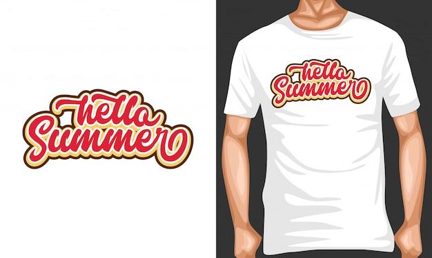 Tシャツデザインのこんにちは夏レタリングタイポグラフィ