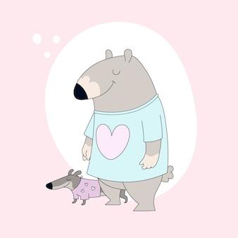Tシャツとダックスフントのかわいいクマ。