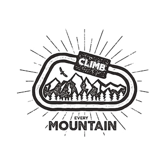ベクトル屋外アドベンチャーラベル。テキストと登山のシンボル-カラビナ、山とビンテージデザイン。白い背景に分離されたタイポグラフィ屋外冒険tシャツプリントエンブレム。活版効果