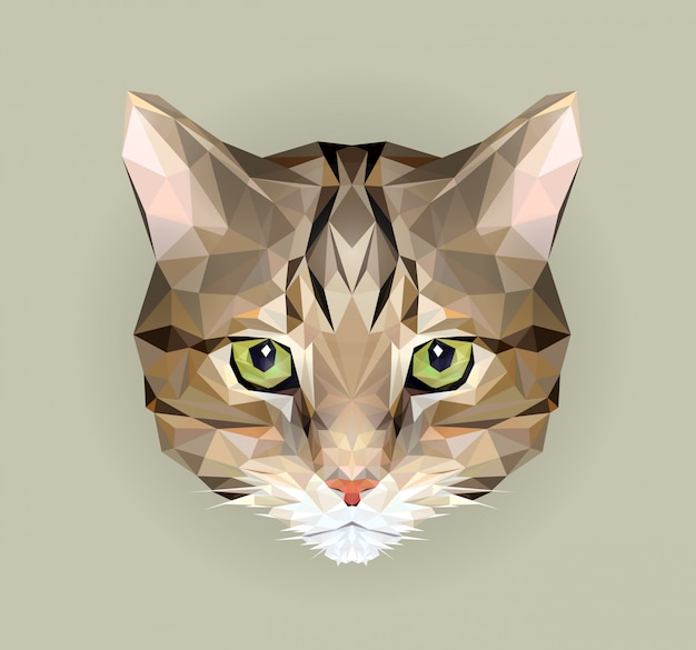 ポリゴンスタイルの猫。 tシャツとポスターのプリントとして使用するための動物の三角形の図。幾何学的な低ポリデザインイラスト。猫のアイコン。