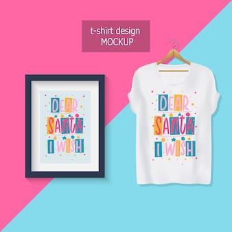 親愛なるサンタ私は願っています。やる気を起こさせる引用符をレタリングします。 tシャツのデザイン。