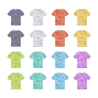 幾何学的な迷彩テンプレートコレクションの男性色の半袖tシャツ