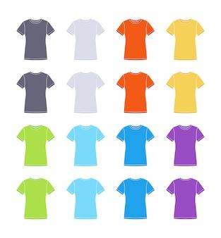 女性の色の半袖tシャツテンプレートコレクション