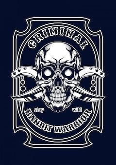 Tシャツのためのマフィアの頭蓋骨の図