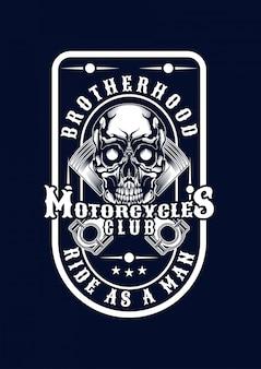 Tシャツのオートバイの頭蓋骨の図