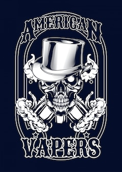 Tシャツの蒸気を吸い込む頭蓋骨イラスト
