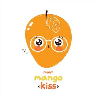 かわいいマンゴーフルーツキス文字。漫画キャライラスト。白で隔離。 tシャツ、カード、ポスターの甘いマンゴーキス