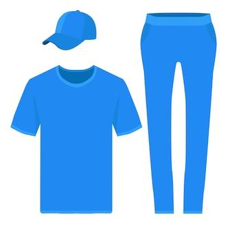 Tシャツ、ズボン、野球帽のデザイン