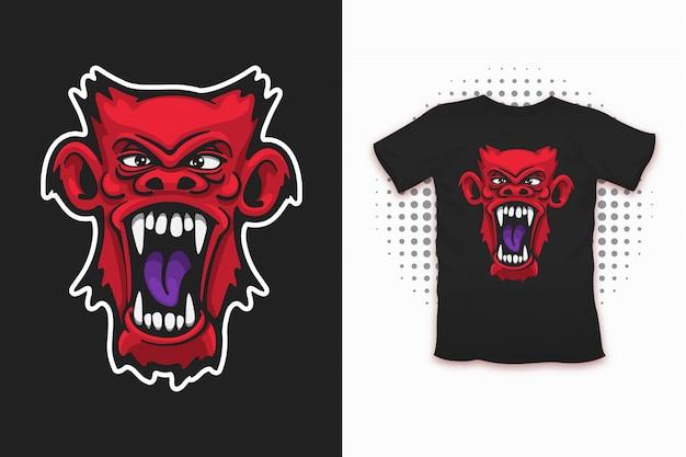 Tシャツデザインのための邪悪な猿のプリント