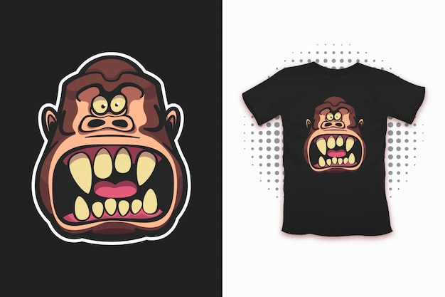 Tシャツのための邪悪な猿のプリント