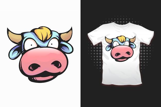 Tシャツデザインの牛プリント