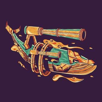 Tシャツデザインのクジラ銃ベクトルイラスト