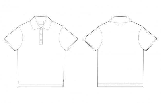 ポロのtシャツのデザインテンプレート。前面と背面