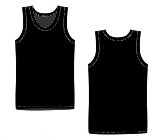 男性の黒のベストの下着。正面と背面の白いタンクトップ。孤立したノースリーブの男性のスポーツシャツや男性トップアパレル。空白のtシャツ。