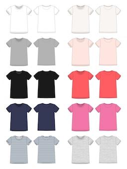 テクニカルスケッチユニセックスtシャツテンプレートのセット。前面と背面のベクトル。