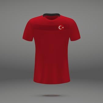 トルコのフットボールキット、サッカージャージのtシャツテンプレート