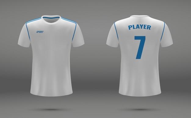 現実的なサッカージャージ、レアルマドリードのtシャツ、サッカーのための均一なテンプレート