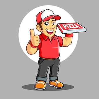 赤いtシャツのピザ配達少年