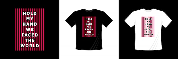 手をつないで世界のタイポグラフィtシャツデザインに直面しました