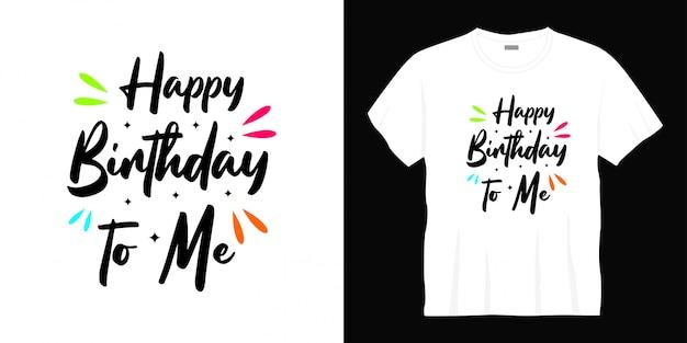 お誕生日おめでとうタイポグラフィtシャツデザイン
