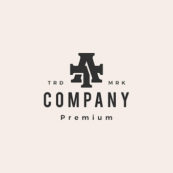 At ta letter mark initial hipster vintage logo template