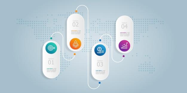 Панель вкладок горизонтальная презентация элемента инфографики с бизнес-значками 4 шага векторные иллюстрации фона
