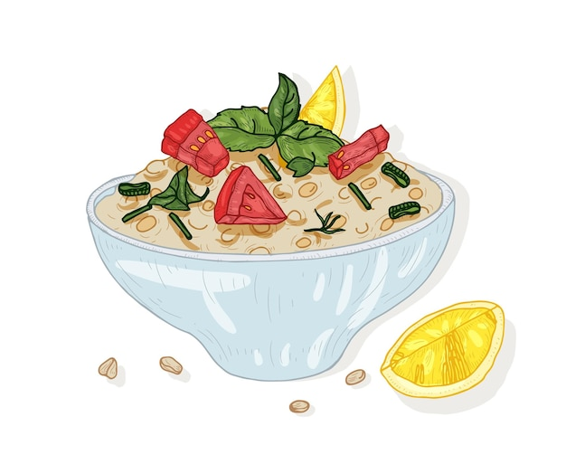 Tabbouleh salad in bowl isolated