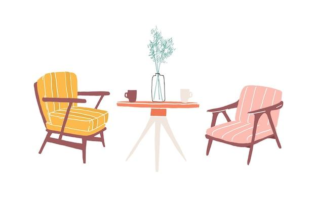 테이블과 안락의 자 손으로 그린 벡터 일러스트 레이 션. 거실 가구, 홈 레트로 인테리어 아이템. 부드러운 빈티지 의자와 원형 테이블 그림. 흰색 배경에 고립 된 구식 가구
