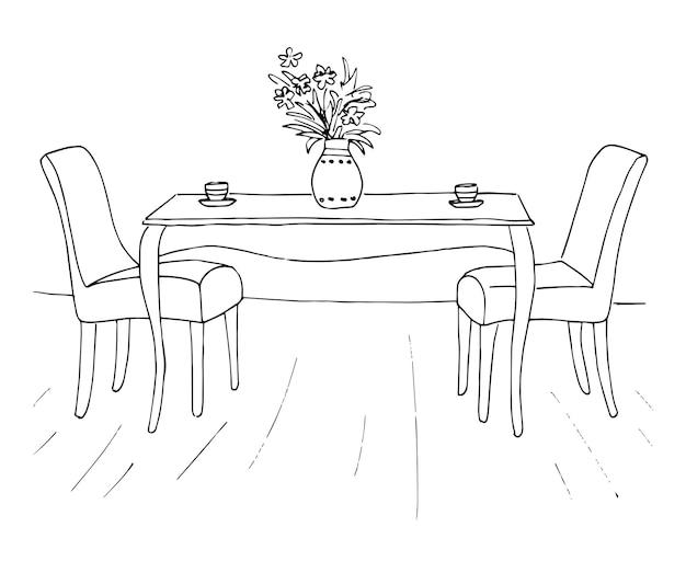 테이블과 두 개의 의자입니다. 테이블에는 두 개의 컵과 꽃병이 있습니다. 벡터 일러스트 레이 션. 손으로 그린.