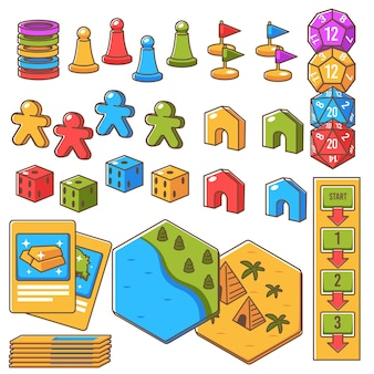 Table board game set, isolated icons of figurine, dices and cards with gold. locations showing pyramids and landscape with river and woods. playing as pastime, children rest. vector in flat style