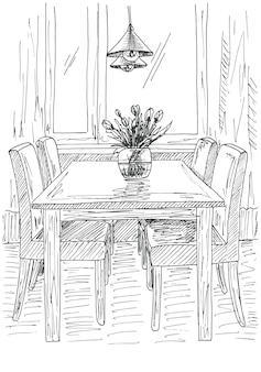 Table and chairs. on the table vase of flowers. vector illustration. hand drawn.